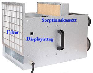 Här visas kassetter för filter och sorptionsmaterial