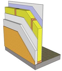 Här ses konstruktionen i genomskärning av vägg och fasad