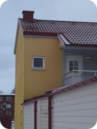 Takutsprång finns ej varvid fasaden blir mer fuktutsatt