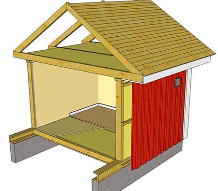 Modell av hus, krypgrund och vind