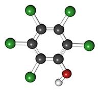 Kloranisoler bildas ofta från pentaklorfenol som visas här