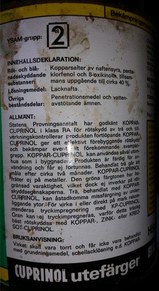 Klassning och innehållsdeklaration pentaklorfenol etc.