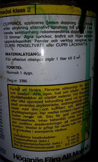 Varning om t.ex. pentaklorfenolat i vätskan