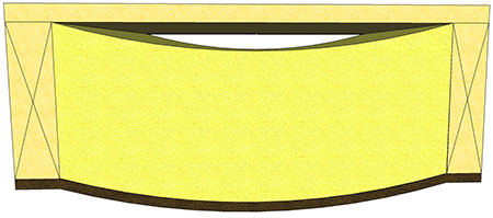 Golvbjälklag ovan krypgrund, där isolering buktar nedåt, skapande en kylande luftspalt mot golvet