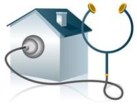 Bild symboliserande ett sjukt hus med fuktskador etc.