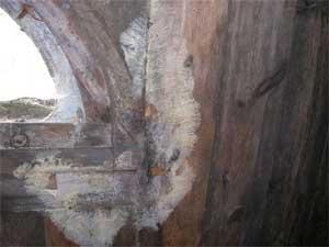 Kraftig tillväxt av mögel vid fönstret på en gammal vind