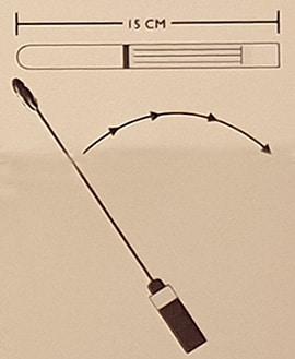 DNA mögeltest tops dras längs en yta om 15 centimeter
