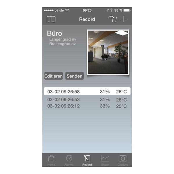 Aktiv loggning via hygrometern i mobiltelefon