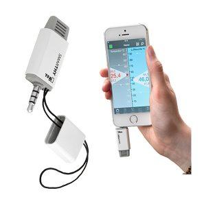 TFA Smarthy hygrometer för mobiltelefon visande temperatur och relativ fuktighet