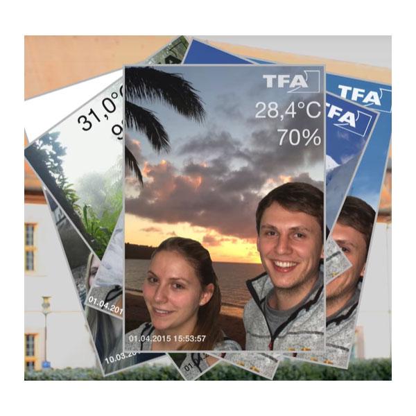 TFA hygrometer Smarthy tillsammans med bild i mobiltelefon